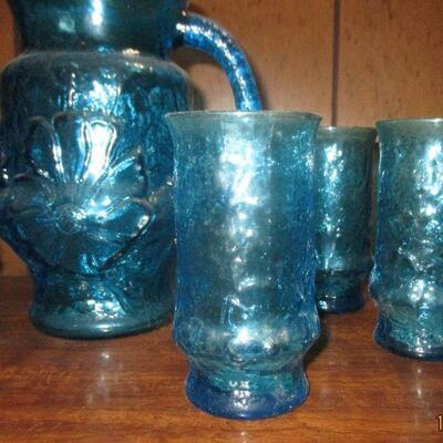 Lot 14 - AH Rainflower Blue Glass Pitcher and 6 Glasses