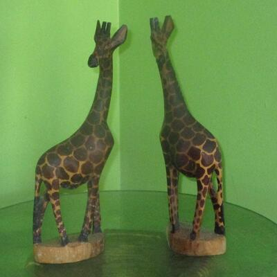 Lot 16 - Wood Carved Giraffes