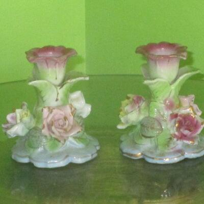 Lot 21 - Wales Floral Candlestick Holders