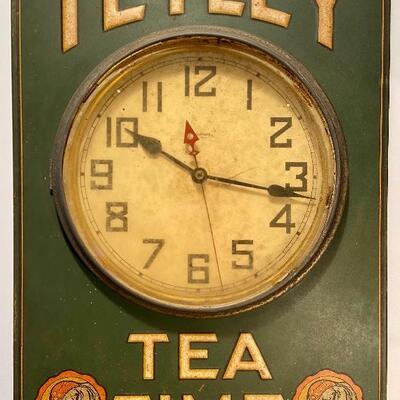 Lot 169: Vintage Advertising Waterbury Clock Co Tetley Tea Time Electric Clock