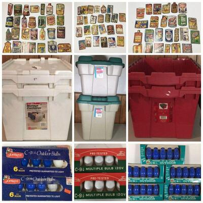 Women's Clothes - Gold, Silver & Costume Jewelry - Handbags - Etc.   Storage Bins - Vintage Wacky Package Cards - Vintage Christmas Lights -
