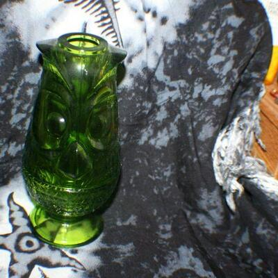 Green Glass Owl Candle Holder with Cover