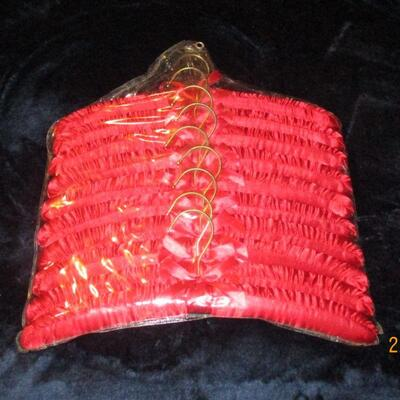 Lot 12 - Package of Red Satin Padded Hangers