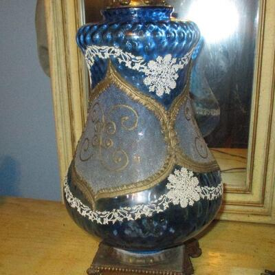 Lot 18 - Blue Art Glass and Brass Lamp LOCAL PICKUP ONLY