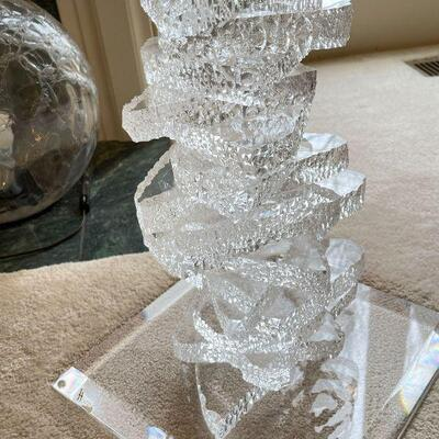 MCM Haziza lucite sculptural pedestal table like stacked ice