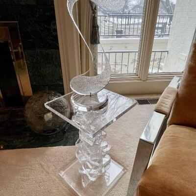 Mid Century Modern Abstract lucite sculpture signed Edel