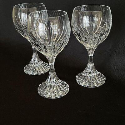 Baccarat crystal set of 3 tall Water / Wine Goblets Massena style