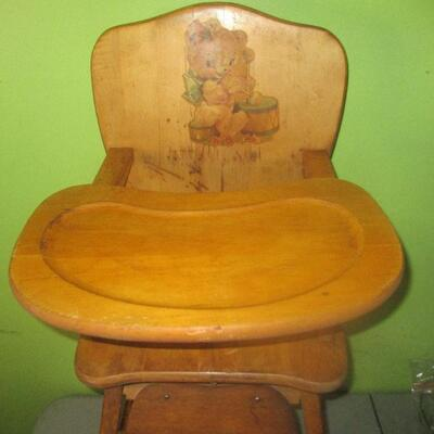 Lot 12 - Solid Wood High Chair LOCAL PICK UP ONLY