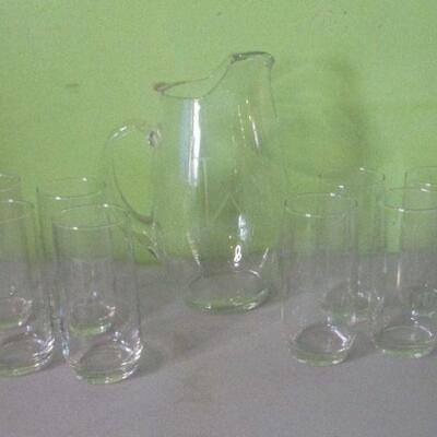 Lot 28 - House of Crystal Pitcher & 8 Glasses