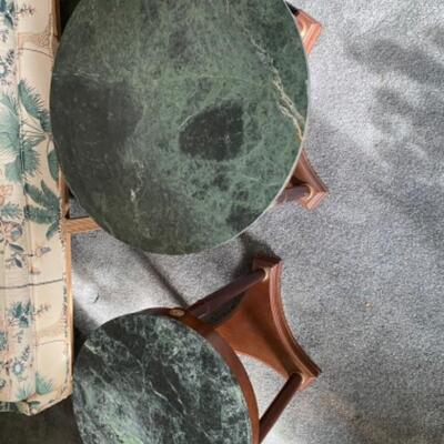 102 Pair of Bombay Marble Top Coffee and End Table