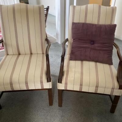 108 Pair of Upholstered Martha Washington Arm Chairs