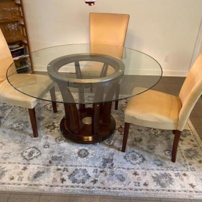 114 Round Glass Top Table with Chairs