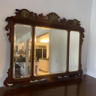 116 Antique Three Paneled Beveled Mirror with carved frame