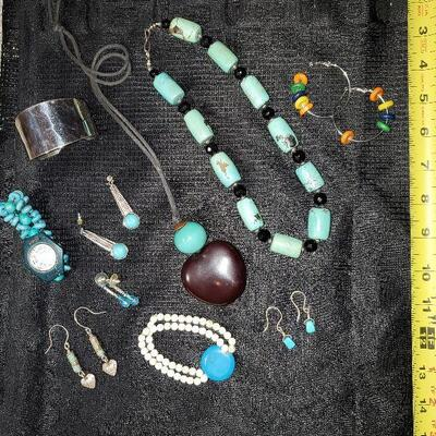 Costume Jewelry Lot (#13) - 10 items - 2 Necklaces, 2 Bracelets, 5 pr of Earrings, 1 Watch Turquoise Style Silvertone