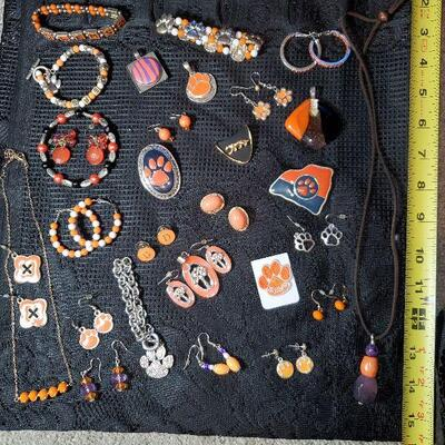 Huge Clemson Costume Jewelry Lot (#14) - 30 items - 2 Necklaces, 5 Bracelets, 15 pr of Earrings, 7 pendants, 1 alumni patch Orange