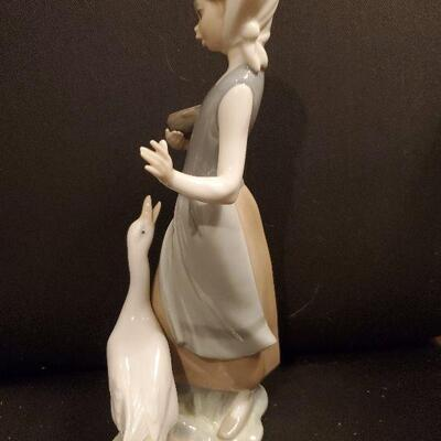 LLADRO (#15)  Figurine Porcelain Girl with Duck Approx. 9.5