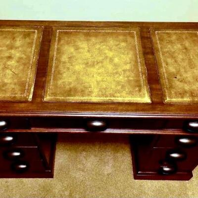 Antique Leather Inlay Desk