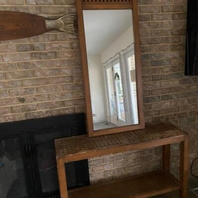 129 Mid Century Console Table with Matching Mirror