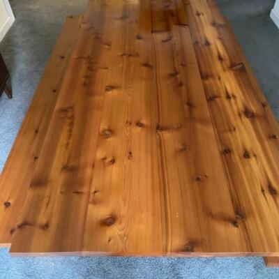 131 Handmade Red Cedar Dining Room Table with Benches Trestle Style