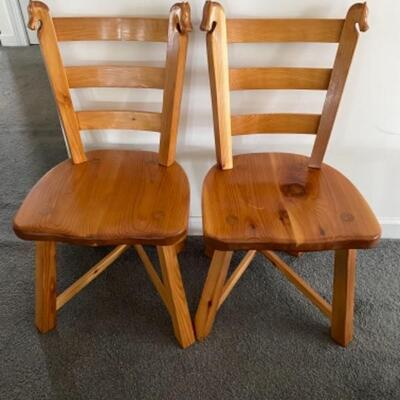 132 Pair of Handmade Romweber Style Red Cedar Horse Head Chairs