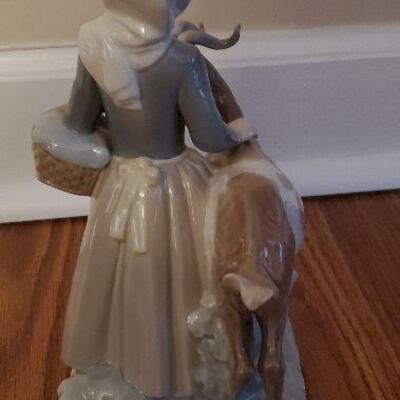 Lladro Porcelain Figurine (#19) - Girl with Goat Figurine Made in Spain - 9 inches tall (4812)