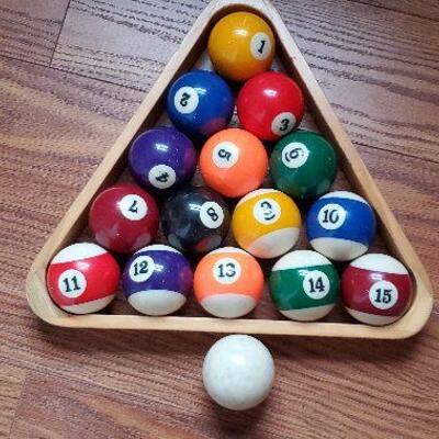 Billiard Balls, Rack and Cue Ball (item #20)