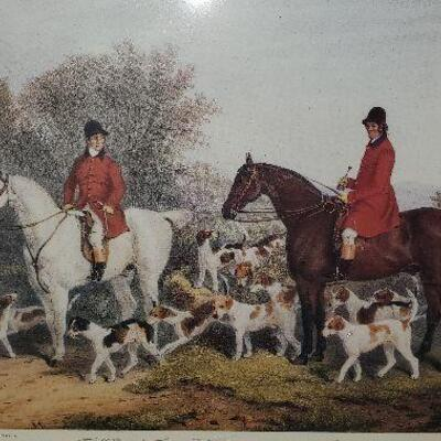 Hunting Framed Print Horses and Hunting Dogs (item #30)