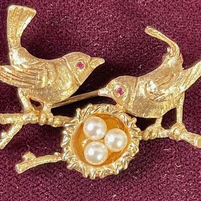 #2 Bird Nest Pin 14Karat Gold, Jewel Eyes and Pearl Eggs