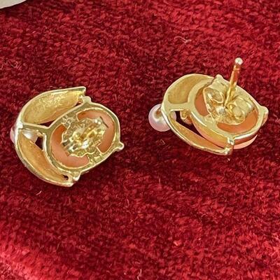 #9 Pearl Pink Coral Earrings 2.7 g 14 K Gold