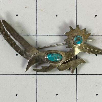 #10 Road Runner Pin Turquoise & Silver Not Marked 8.1 g