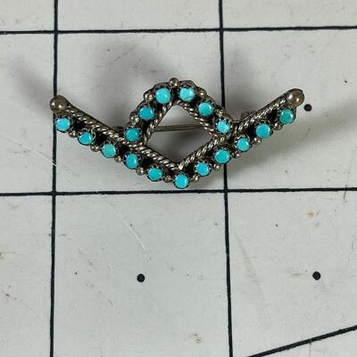 #18 Turquoise Silver .925 Pin 3.0 g