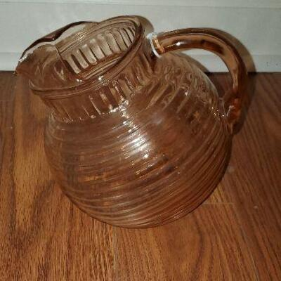 Vintage Pink Depression Glass Tilt pitcher - (item #31) - 7 inches tall