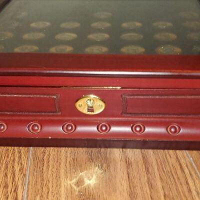 Platinum and Gold Highlighted U.S. Presidential Coins 29 coins (item #39) with Wooden Case Box