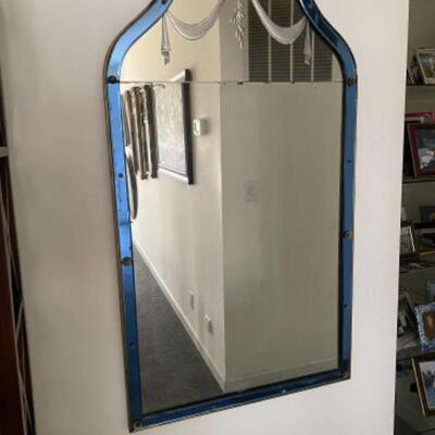 135 Antique Art Deco Blue Glass Frame with Etched top Mirror