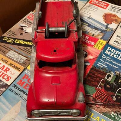 Vintage Red metal Fire Truck #5