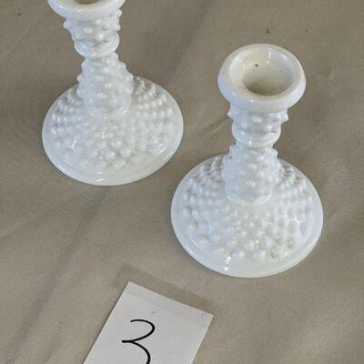 Lot 3 Pair Vintage Hobnail Milkglass Candle Sticks