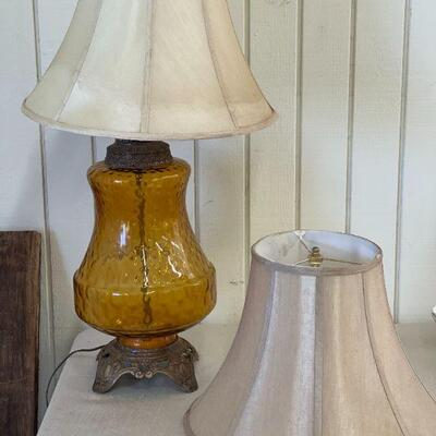 Lot 5 Vintage XL Amber Glass Lamp w/ Pair of Shades
