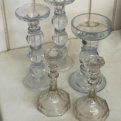 Lot 6 Glass Candle Sticks 5 each