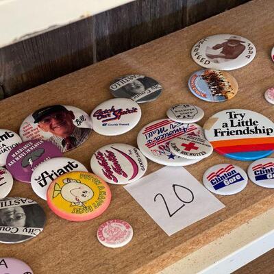 Lot 20 Vintage Buttons/Pins Political & More