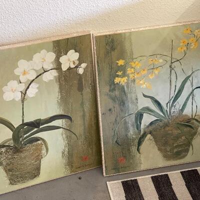 Lot 22 Orchid Floral Art Pair 24x20