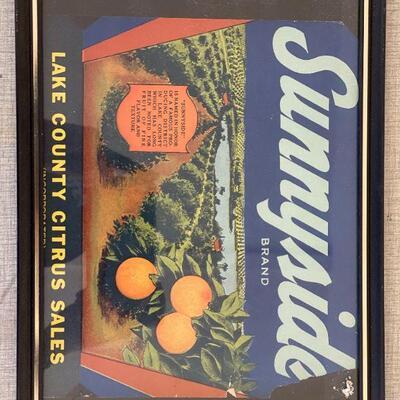 Lot 23 Sunnyside Brand Orange Label Framed