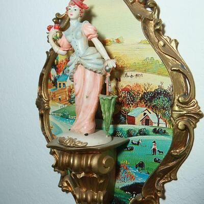 Vintage Italian Pair of Music Playing Victorian Figurine Wall Plaques YD# 22-0004