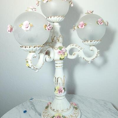 Romantic Victorian Pink Rose Capodimonte Style 4 Arm Table Lamp YD#022-0008