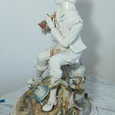 Capodimonte Boy Sitting on Rock Figurine Statue YD#022-0009
