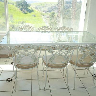 White Wrought Iron & Glass Dining Set YD#022-0014