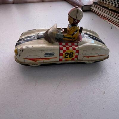 Japanese tin litho battery operated race car