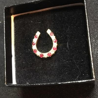 14k Gold Horseshoe Ring with Rubies and Diamonds Size 3