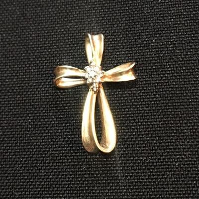 "14k Gold Cross with Diamonds 1"" high"