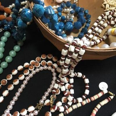 Mixed Costume Jewelry Lot with Beaded Necklaces