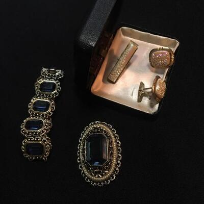 "3 piece Costume Jewelry Lot with 7"" Bracelet and Cuff Links"